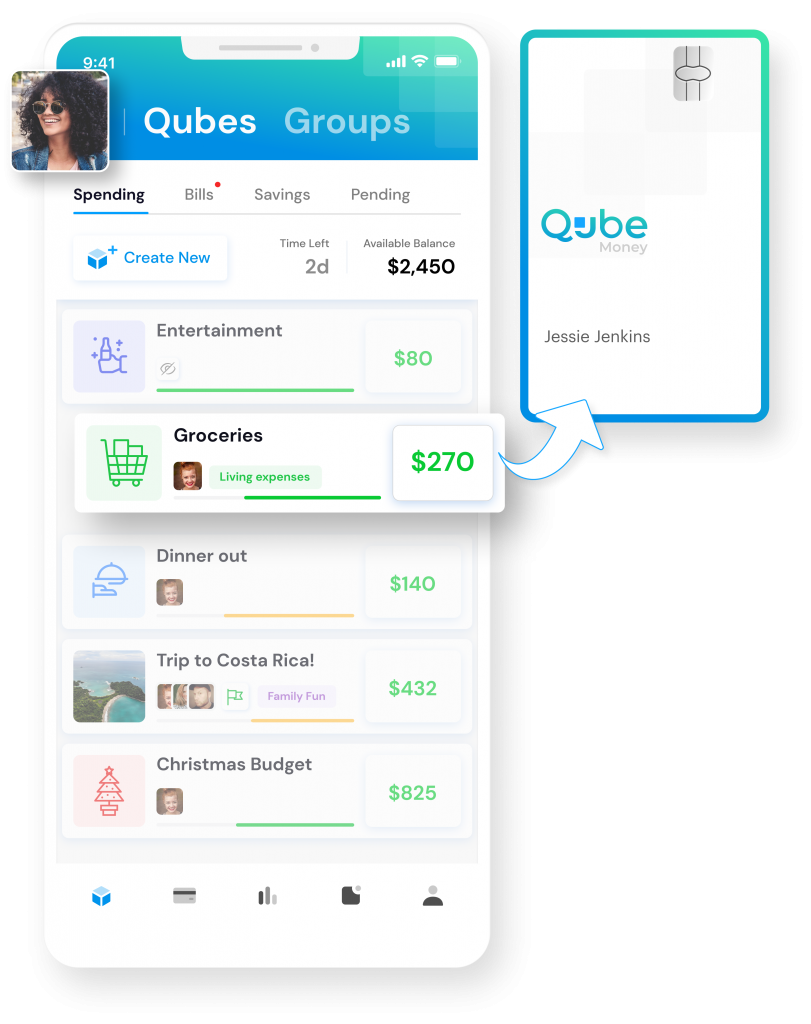 the home screen of the Qube Money app